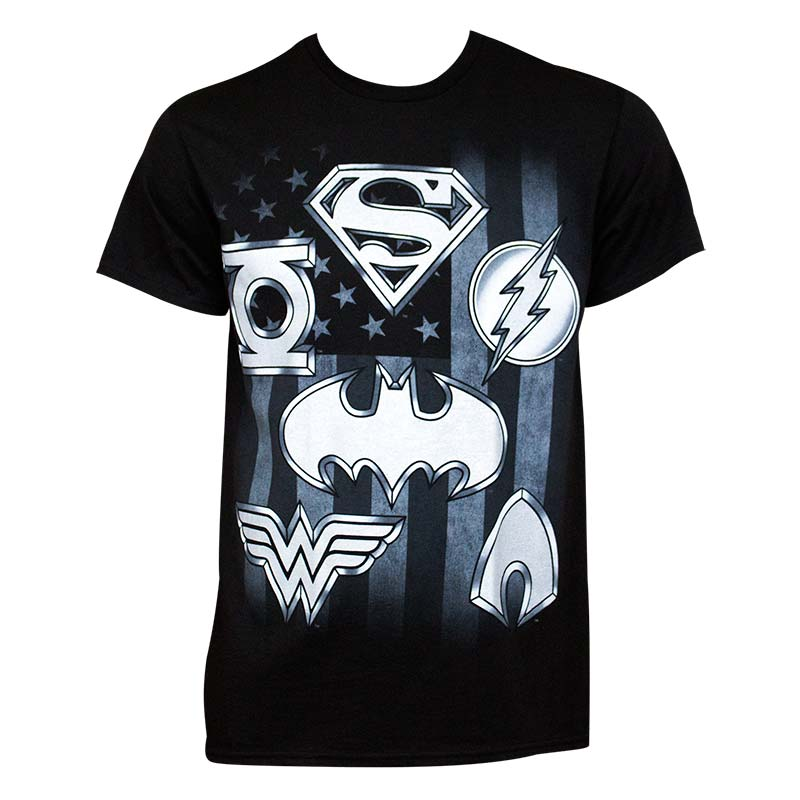 Justice League Men's Black Superhero Logo T-Shirt