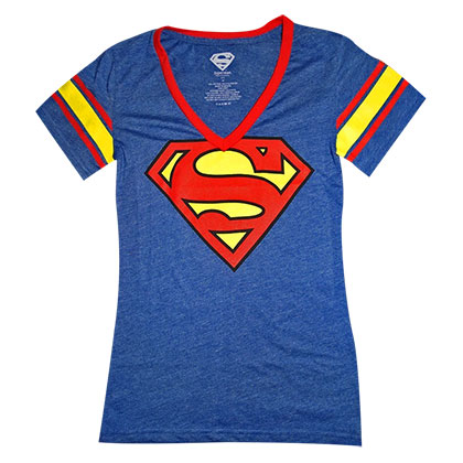 Superman Atlhetic Logo Women's Blue V-Neck Tee Shirt