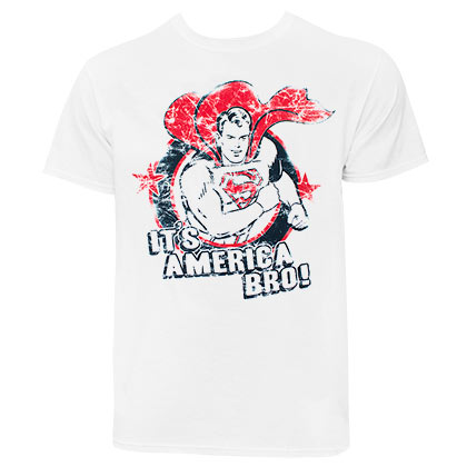 Superman It's America Bro Distressed Men's White TShirt