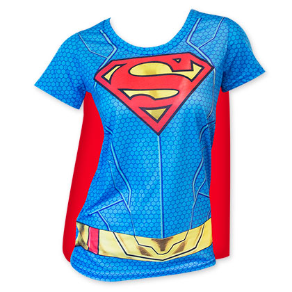 e90dd2907 Superman Women's Sublimated Cape Costume Tee Shirt