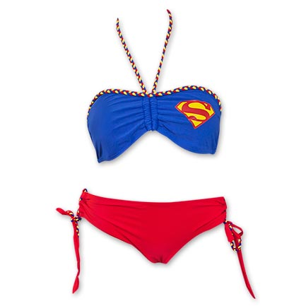 Superman Women's Braided Bandeau Lace Up Bikini