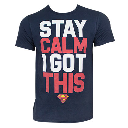 Superman Men's Blue Stay Calm T-Shirt