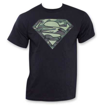Superman Camo Logo Fan Tee - Black