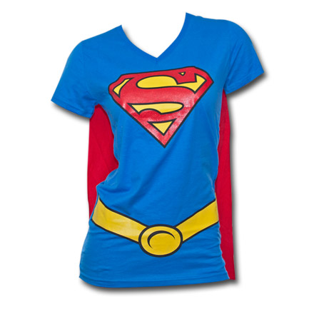 Superman Juniors Shirt w/ Cape - Blue & Red