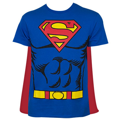 Superman Men's Blue Caped Costume T-Shirt
