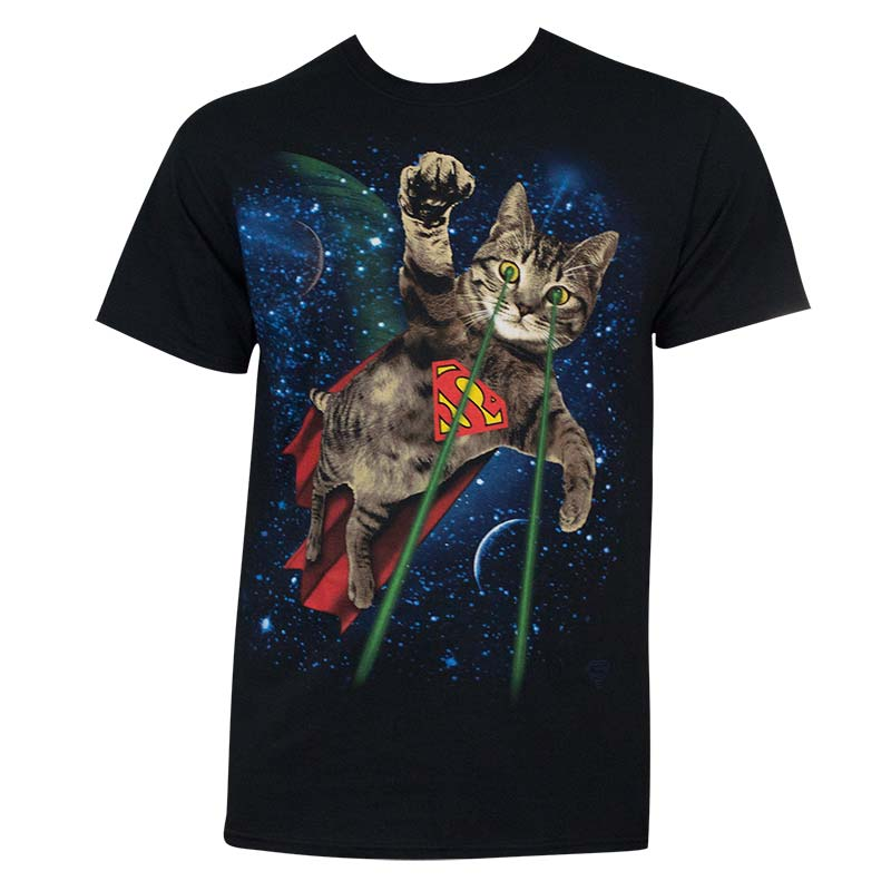 Superman Laser Cat Tee Shirt
