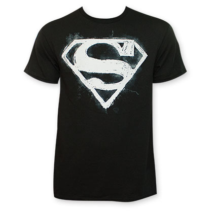 Superman Sidewalk Chalk Black T-Shirt