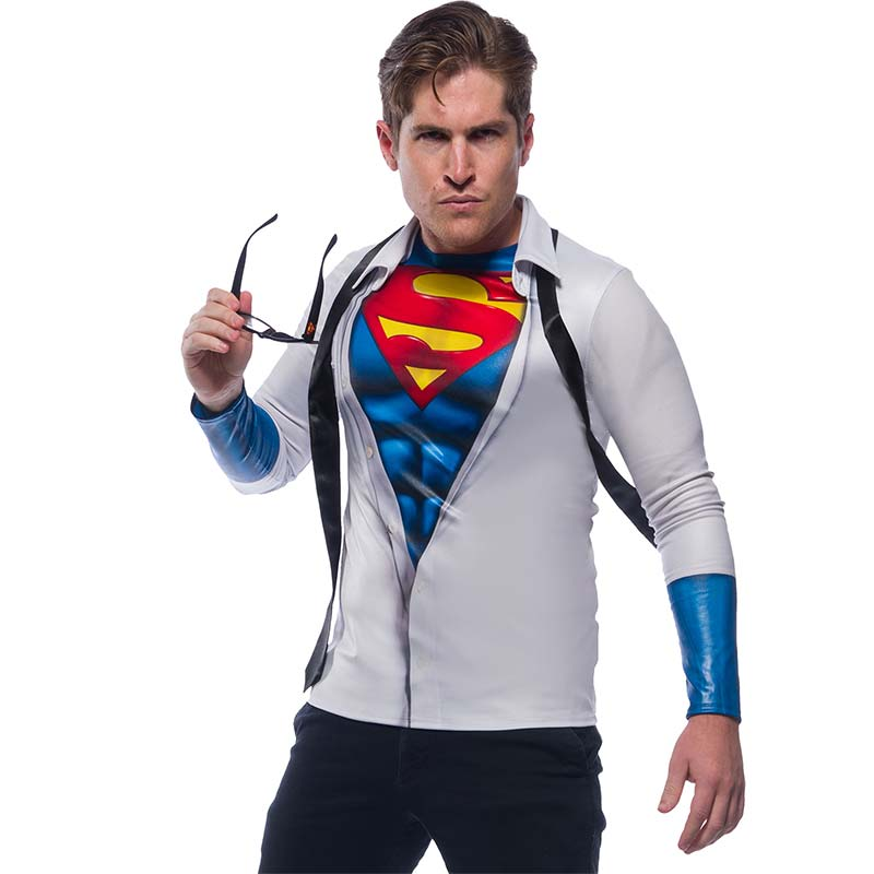 Superman Men's Halloween Costume Long Sleeve Shirt With Tie