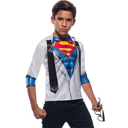 Superman Youth Halloween Costume Long Sleeve Shirt With Tie