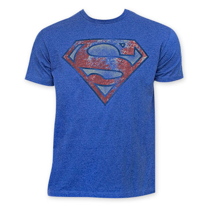 Superman Men's Heather Blue T-Shirt