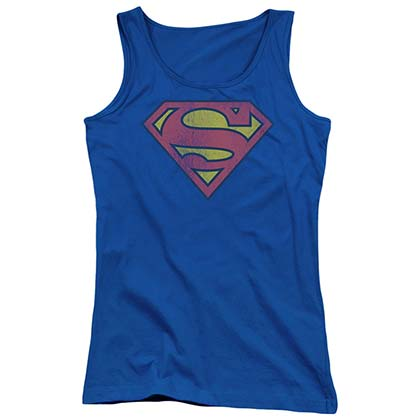 Superman Distressed Logo Women's Blue Tank Top