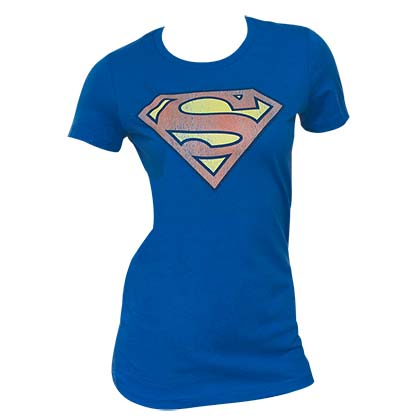 Superman Distressed Logo Blue Juniors Graphic Tee Shirt