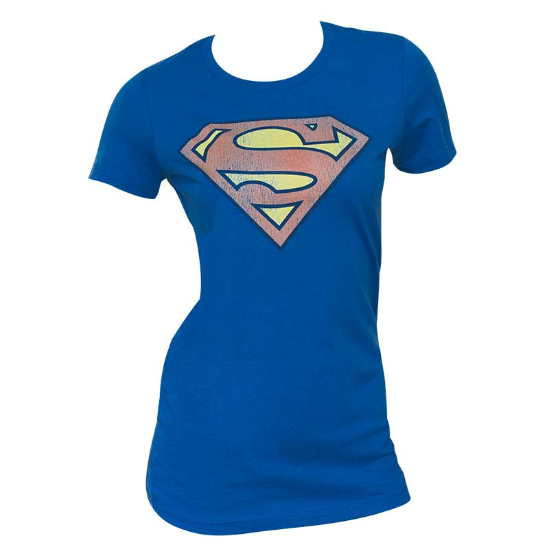 Superman Distressed Logo Blue Juniors Graphic Tee Shirt