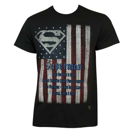 Superman Men's Black Flag T-Shirt