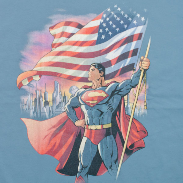 Superman American Flag Shirt Blue