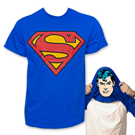 Superman Face Flip-Up Reversible Tee Shirt - Blue