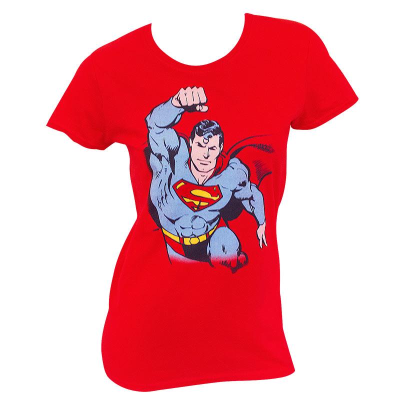 Superman In Flight Ladies Red Tee Shirt