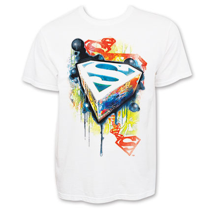 Superman Urban Spray Graffiti White Graphic Tee Shirt