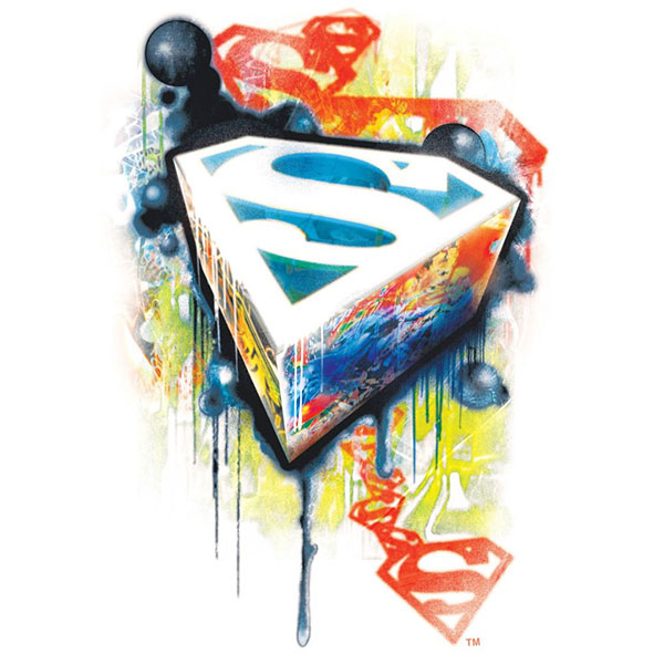Superman Urban Graffiti White Graphic TShirt