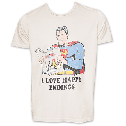 Superman I Love Happy Endings Funny Novelty Tshirt