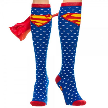 Superman Heart Print Cape Socks