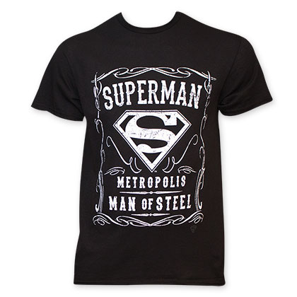 Superman Men's Black Whiskey Style T-Shirt