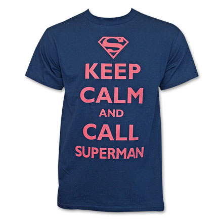 Superman Keep Calm and Call Fan Tee - Blue