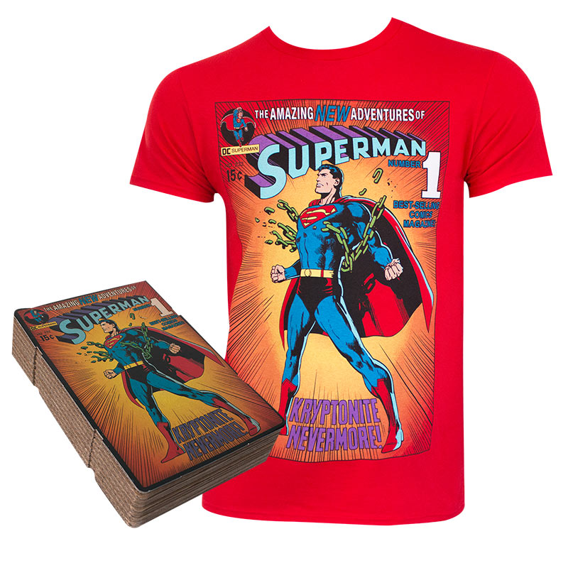 Superman Men's Red Corrugated Boxed T-Shirt