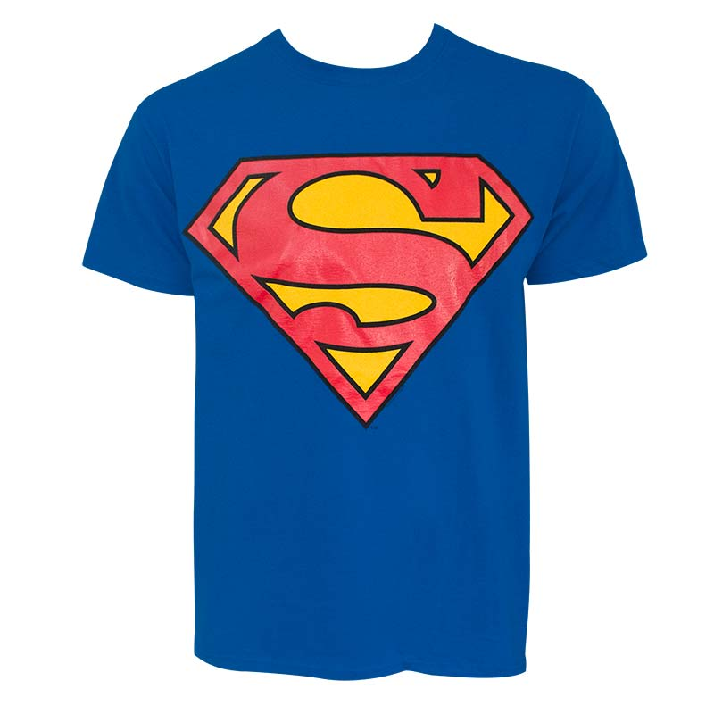 Superman Glow In The Dark Logo Men's Royal Blue Tee Shirt