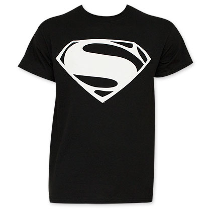 Batman v Superman Men's Black And White Superman Logo T-Shirt