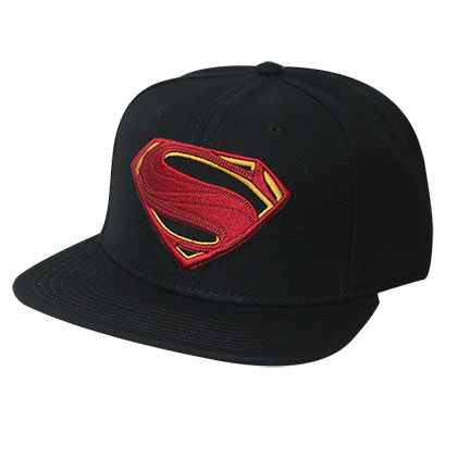 Superman Embroidered Superhero Logo Black Snapback Hat