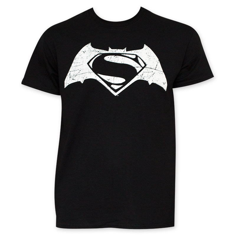 Batman v Superman Men's Black And White Movie Logo T-Shirt