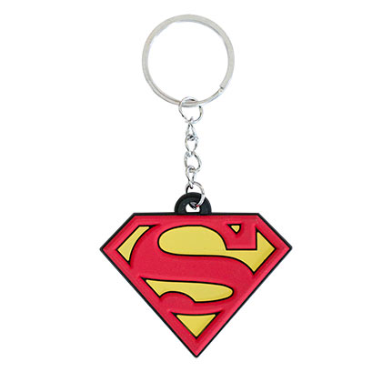 Superman Comic Logo Rubber Keychain