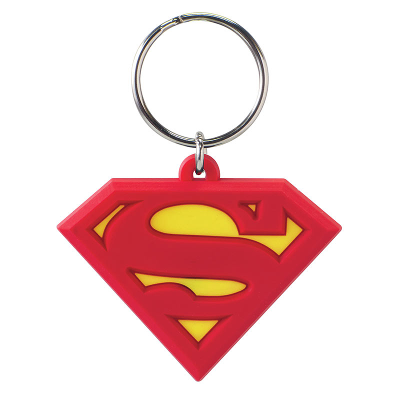 "Superman ""S"" Logo Rubber Keychain"