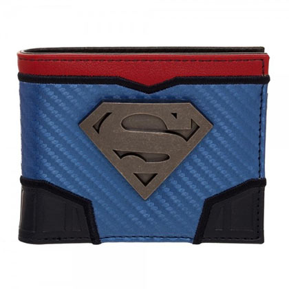 Superman Bifold Metal Medallion Carbon Fiber Wallet