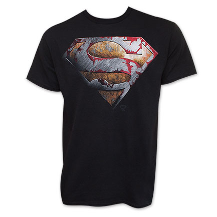 Superman Black Battered Logo T-Shirt