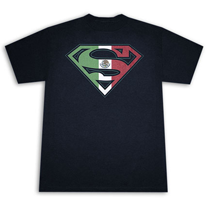 Superman Men's Mexican Flag Shield Tee Shirt