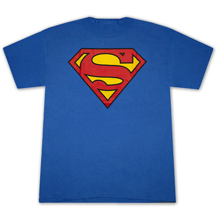 Superman Classic Shield Logo Royal Blue Graphic Tee Shirt