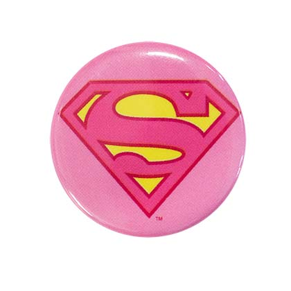 Superman Supergirl Comic Pink Logo Button