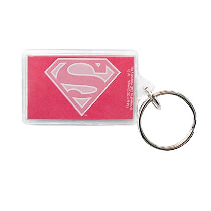Superman Supergirl Comic Pink Logo Lucite Keychain