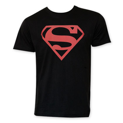 Superman Men's Black Red Logo T-Shirt