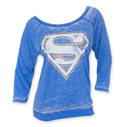 Superman Women's Blue Faded Burnout Shirt