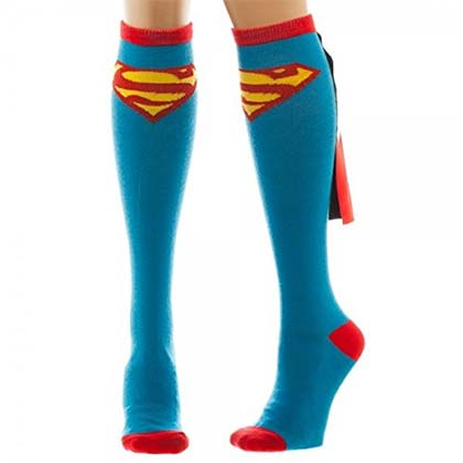 Superman Knee High Women's Shiny Blue Costume Socks