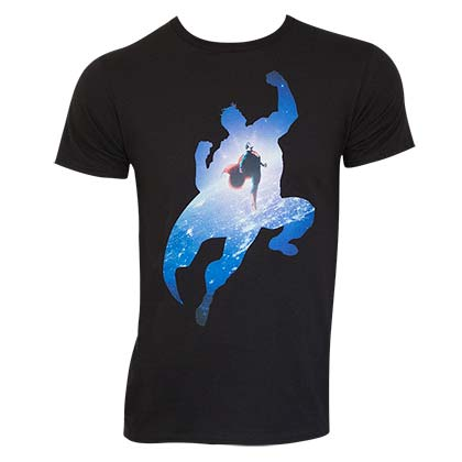 Superman Space Flight Black Tee Shirt