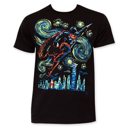 Superman Men's Black Starry Night T-Shirt