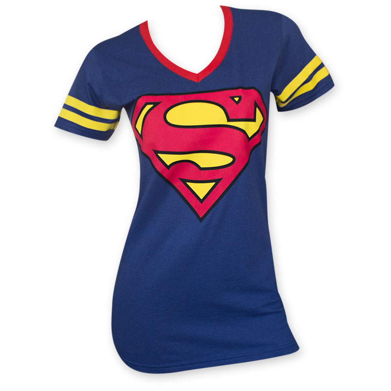 superman women 39 s logo blue v neck t shirt. Black Bedroom Furniture Sets. Home Design Ideas
