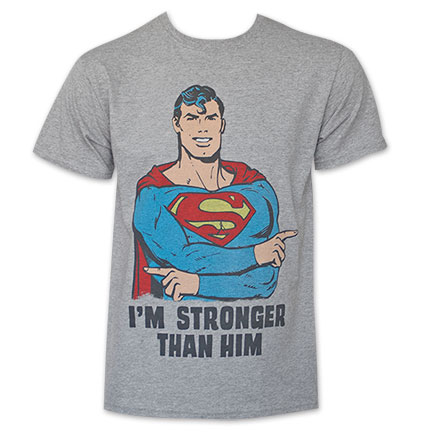 Superman Men's Grey I'm Strong Than Him T-Shirt