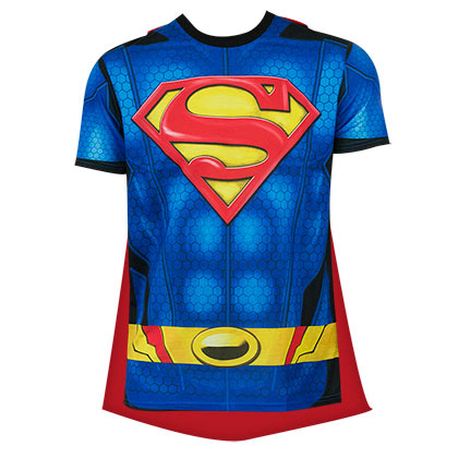 Superman Men's Blue Sublimated Caped Costume T-Shirt