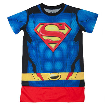 Superman Boys Blue Sublimated Costume T-Shirt