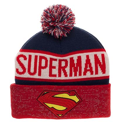 Superman Reflective Logo Winter Pom Beanie